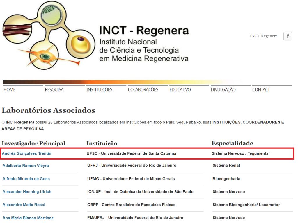 Laboratórios associados ao INCT - REGENERA